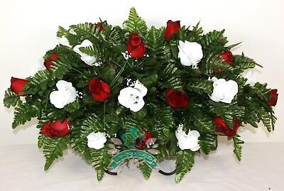 XL Red & White Roses Silk Flower Cemetery Tombstone Saddle Arrangement