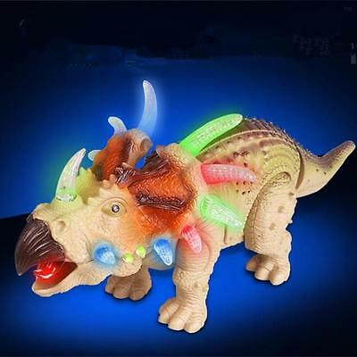 Walking Dinosaur Triceratops Figure with Lights Sounds Movement Kids Toy Gift