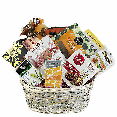 Organic Health Gift Basket With Crackers Nuts Truffles Granola Chocolate