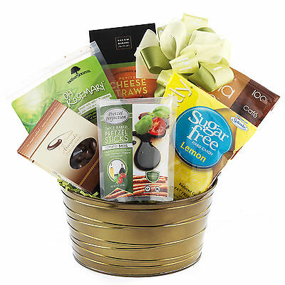 Sugar-Free Health Gift Basket With Apple Chips Cookies Nuts Cheese Biscuits