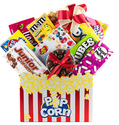 Gift Basket With Assorted Candy Jolly Ranchers Gummies Chocolate Popcorn Nuts