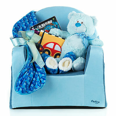 Baby Boy Gift Basket With Chair Activity Book Teddy Slippers Fleece Blanket