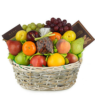 Father's Day  Fruit Gift Basket With Seasonal Fruits Mango Grapes Apples