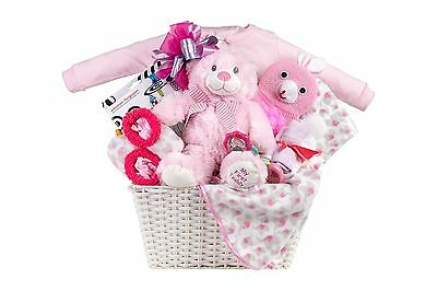 Baby Gift Basket With Onesie Teddy Slippers Mobile Album Rattle Bath Squirters