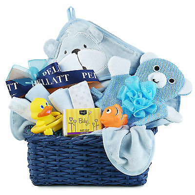 Baby Boy Gift Basket With Hooded Towel Wash Cloths Mitt Squirter Organic Soap