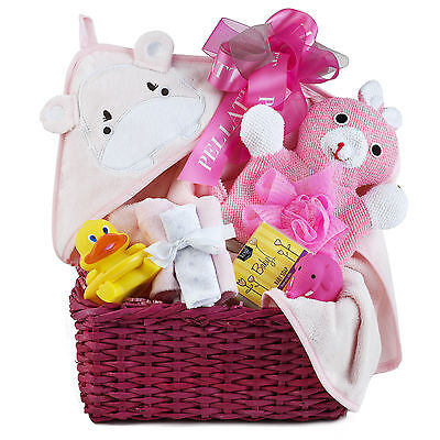 Baby Girl Gift Basket With Towel Washcloths Squirter Organic Soap Thermometer