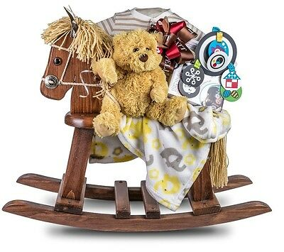 Wooden Classic Rocking Horse With Blanket Rattle Onesie Plush Dog Cd Kids Gift
