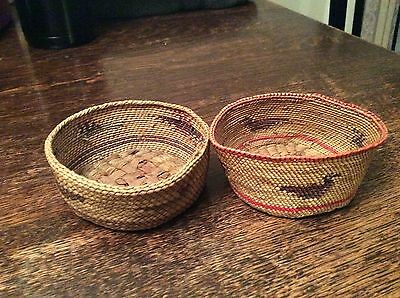 Two fine old Makah baskets. Ducks and Eagles.