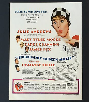 """1967 """"Thoroughly Modern Millie"""" Movie Advertisement AD Julie Andrews Mary Moore"""