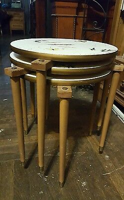 3 Mid Century Modern Stacking End / Side / Lamp Tables Walnut Nesting Vintage
