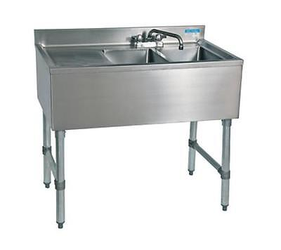 "Bk Resources (2) Compartment 36"" Wide Underbar Sink With Left Drainboard - Bkubs"