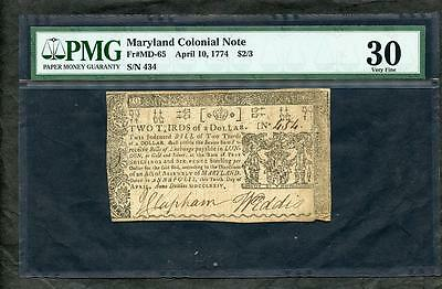 1774 Colonial Currency Maryland 2/3 Dollar Pmg 30 Please  Lqqk!*
