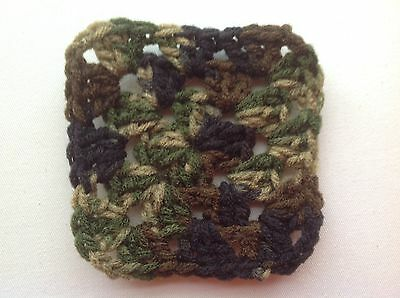 "20 4"" CAMOUFLAGE Variegated Hand Crocheted GRANNY SQUARES Afghan Yarn Blocks"