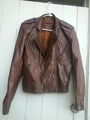 VINTAGE MENS BIKER Brown 100% Leather Moto JACKET Motorcycle Riding Zippers