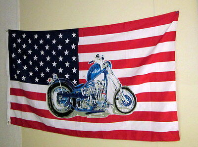 """VINTAGE  American Flag WITH A HIGH TIMES MOTORCYCLE 35"""" X 60"""""""