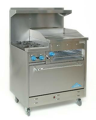 """Comstock Castle 36"""" Commercial Gas Range W/ 2 Burners & 24in Raised Griddle"""