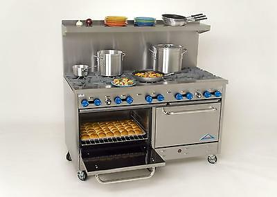 """Comstock Castle 60"""" Commercial Gas Range, 10 Open Burners & Two 26.5"""" Ovens"""