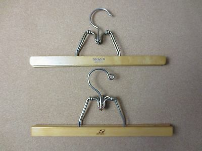 "2 Vintage CLOTHES Hangers PANTS SKIRTS HOOKS Wood WOODEN RACK 13"" long (PG763)"
