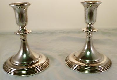Michael C Fina Pair of Weighted Sterling Silver 18th Century Style Candlesticks