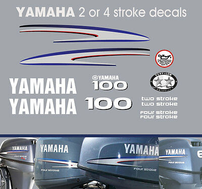 100hp 2 stroke and 4 stroke Yamaha Outboard Decals