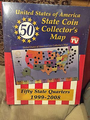 New 50 Us State Quarters 1999-2008 State Coin Collector Map Folder As Seen On Tv
