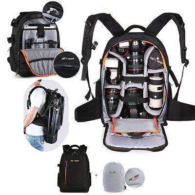 K&F Concept DSLR SLR Camera Backpack Rucksack Bag Case w/ All Weather Cover UK
