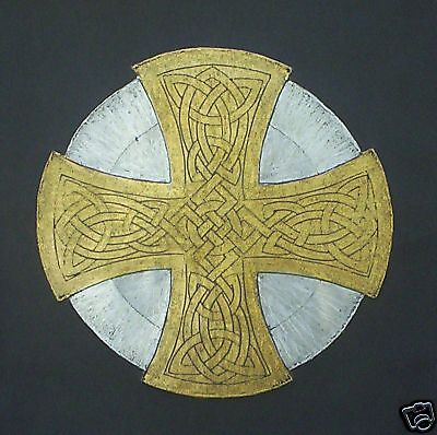 BRASS RUBBING, GOLD & SILVER CELTIC CROSS, WALL ART, Scottish