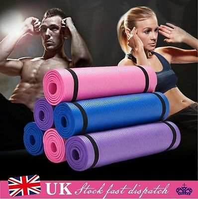 Sports 10/15MM Exercise Thick Mat Yoga Gym Train Workout Padded Non Slip Fitness