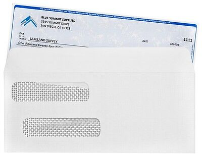 500 BLUE SUMMIT Self Seal Double Window Security Envelopes For QuickBooks Checks