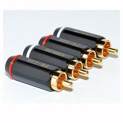 12 Pairs Gold RCA Male Plug Audio Video Soldering Cables Connector for TV AMP