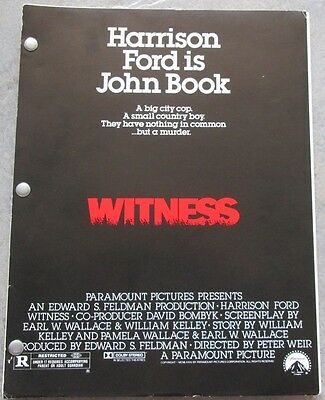 """Script  """"Witness"""" by Earl Wallace starring Harrison Ford Revised Draft 4/8/84"""