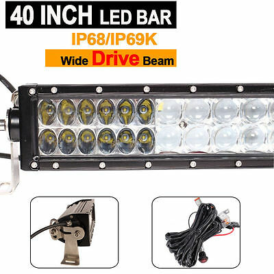 1pcs 40inch 288W CREE  LED Light Bar Combo Beam  Wiring Harness Kit For Offroad