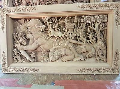 Hanuman Ramayana Wood Carved Hand Made Thai Craft Magnificent Home Decor Large