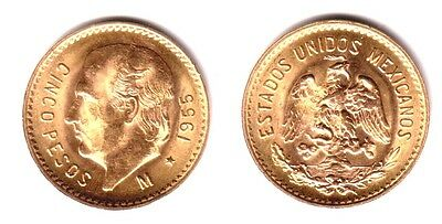 Mexico Gold 5 Pesos--IS  SPECIFIC QUALITY DATE--1955---NO RANDOM DATE AUTHENTIC