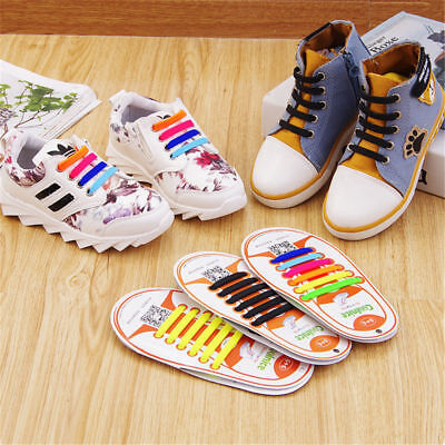 Coolnice Easy No Tie Shoelaces Elastic Shoe Laces 12pcs/set For Kids Children UK