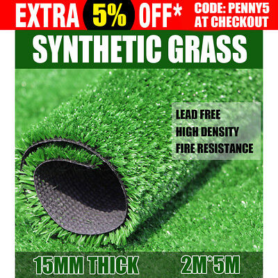 10 SQM Artificial Grass Synthetic Turf Plastic Plant Fake Lawn Flooring 15MM