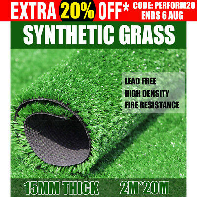 40 SQM Artificial Grass Synthetic Turf Plastic Plant Lawn Flooring Emerald 15MM