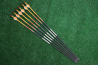 6Pcs 31'' Pure Carbon Arrows Archery For Compound Bow Shooting Spine 500