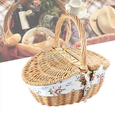 Wooden Color Wicker Camping Beach Picnic Basket Storage Hamper For Fruits Snacks
