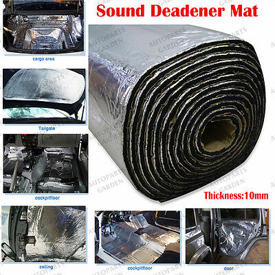 16Sqft 10mm Trunk Hood Sound Deadener Heat Noise Proof Insulation Deadening Mat