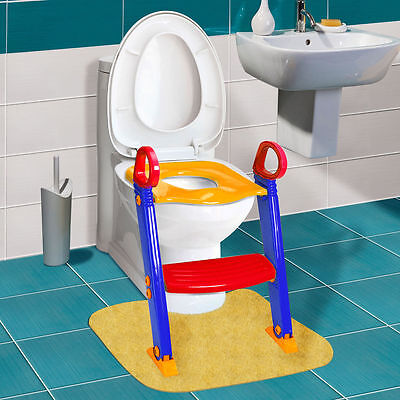 Toilet Potty Trainer Seat Chair Kids Toddler With Ladder Step Up Training Stool