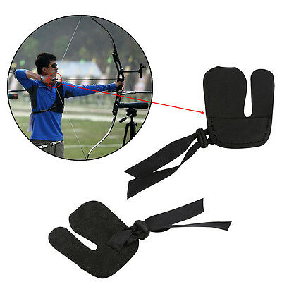Black Genuine Leather Archery Bow String Finger Tab Protector Guard Shooting NEW
