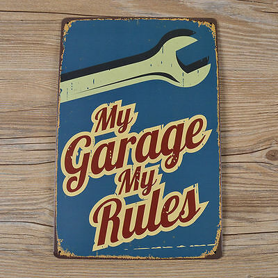 My Garage My Rules Metal Tin Signs Plaque Vintage Cafe Pub Bar Home Wall Decor