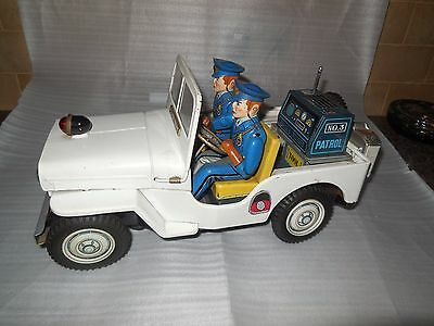 """VINTAGE 1960s  LARGE 13"""" TN NOMURA JEEP  MADE IN JAPAN"""
