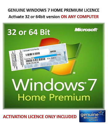 Windows 7 Home Premium 32 / 64bit - Genuine Activation Product Key ONLY