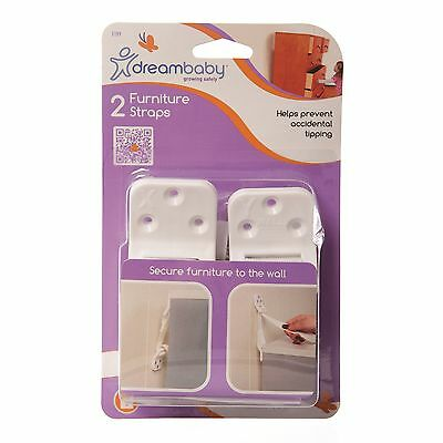 Dreambaby FURNITURE STRAP 2Pcs Helps Prevent Accidental Tipping WHITE*Aust Brand