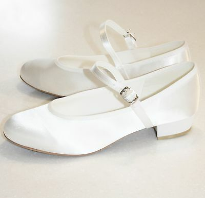 NEW Ivory or White Heeled Satin Flower Girl Holy Communion Shoes -Sizes Ch12-Ad5