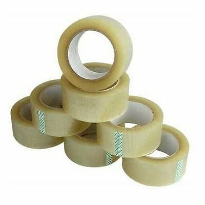 PACK OF 6 ROLLS CLEAR PARCEL PACKING TAPE 66m x 48mm PACKAGING SELLOTAPE SEALING