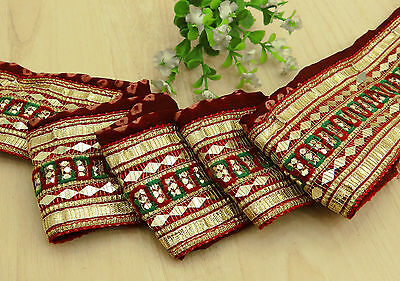 Vintage Indian Sari Border Trim Hand Beaded 1YD Sewing Red Lace Antique Ribbon
