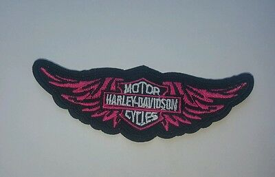 PINK WINGS HARLEY DAVIDSON  motorcycle  IRON ON PATCH